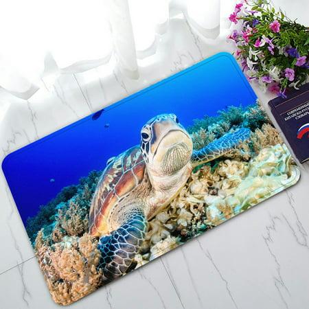 PHFZK Seascape Doormat, Underwater World with Sea Turtle and Coral Doormat Outdoors/Indoor Doormat Home Floor Mats Rugs Size 30x18 inches