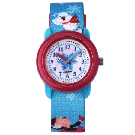 Zeiger Cute Cartoon Ice World Nylon Weave Strap Kids Quartz Watch Boys Girls Time Teacher Wrist Watch - Blue