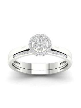 813dbe443 Product Image 1/6Ct TDW Diamond S925 Sterling Silver Cluster Halo Bridal Set  (I-J, I2