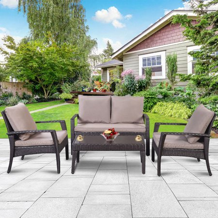Gymax 4 PC Steel Frame Patio Rattan Furniture Set Outdoor