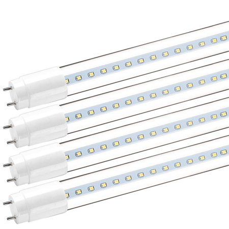 4-Pack Luxrite 4FT T8 LED Tube Light, 18W (32W Equivalent), 5000K Bright White, 2200 Lumens, Direct Replacement, UL Listed, DLC Listed, Clear Cover, G13 LED Base