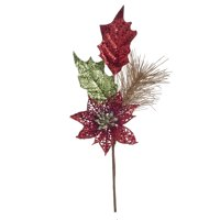 Darice Glitter Mixed Poinsettia Pick Red/Green, 3 x 8.5 Inches