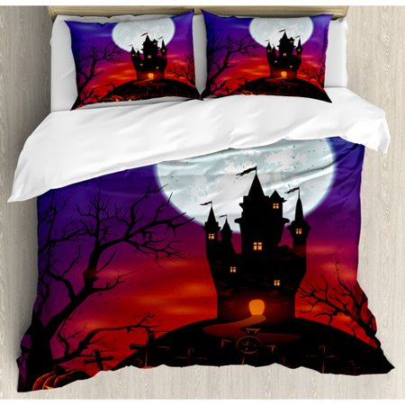 Ambesonne Halloween Gothic Haunted House Castle Hill Valley Night Sky October Festival Theme Duvet Cover Set - Fountain Valley Halloween