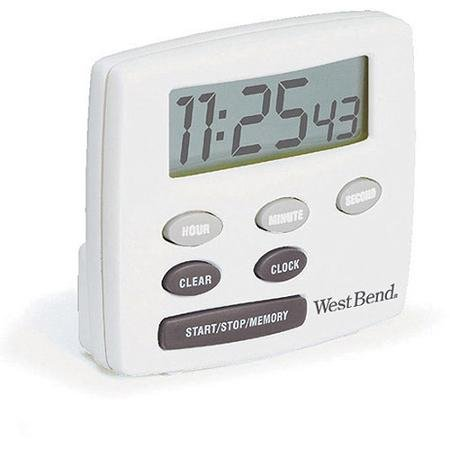 West Bend Single Channel Timer with Clock, White, Memory recall feature remembers previous time settings By BLOSSOMZ