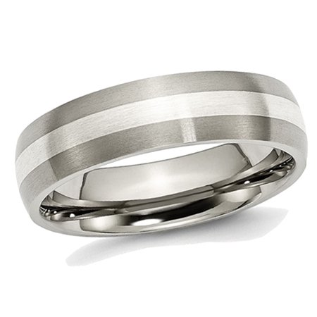 Mens Chisel 6mm Comfort Fit Satin Titanium Wedding Band with Sterling Silver Inlay - image 5 de 5