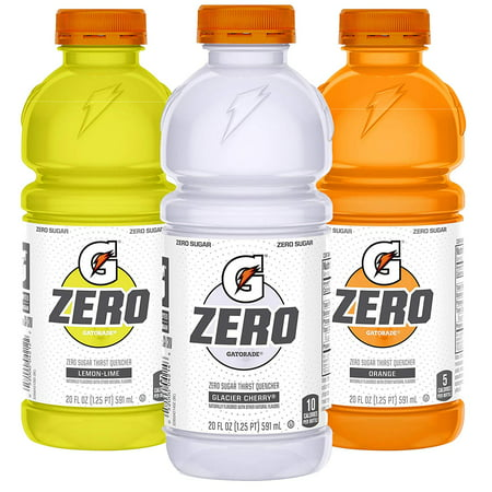 Gatorade Zero Sugar Thirst Quencher, 3 Flavor Variety Pack, 20 oz Bottles, 12 Count