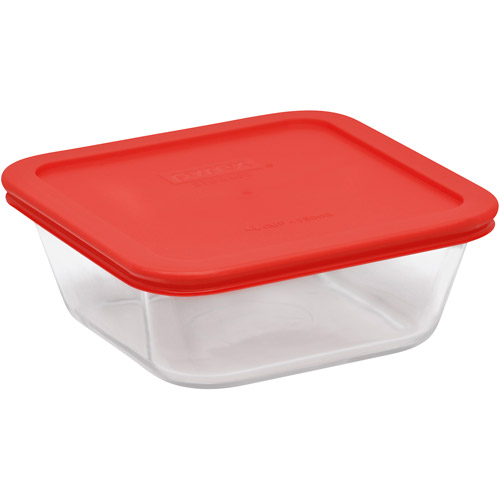 Pyrex Storage Plus 4-Cup Square Glass Food Storage with Red Plastic Cover
