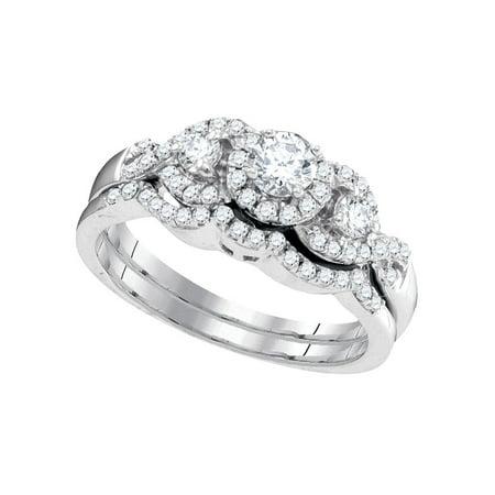 10k White Gold Womens Round Diamond Bridal Wedding Engagement Ring Band Set 5/8 Cttw - image 1 de 1