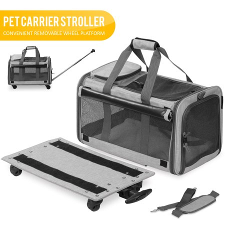 KOPEKS Pet Carrier with Detachable Wheels for Small and Medium Dogs & Cats - Heather Grey ()