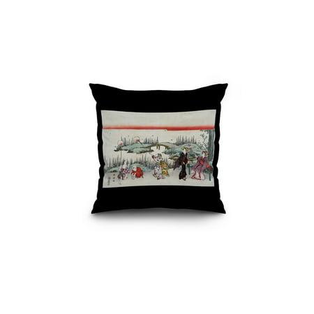 Catching Fireflies Japanese Wood-Cut Print (16x16 Spun Polyester Pillow, Black Border)](Fireflies Boutique)