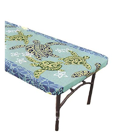 Hawaiian Tropical Fabric Tablecloth for 6' Center-fold Table, Blue Sea turtle - Blue Fabric Tablecloth