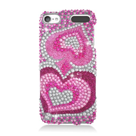 Insten Hearts Rhinestone Full Diamond Hard Snap-in Case Cover For Apple iPod Touch 5th Gen, Hot Pink Hot Pink Rhinestones Snap