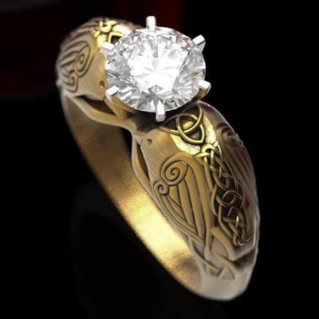 KABOER Luxurious 18K Yellow Gold Celtic Raven Totem Ring Natural Gemstone White Sapphire Birthstone Ring Anniversary Gift Bride Exaggerated Engagement Wedding Ring Jewelry 18k Yellow Gold Ring