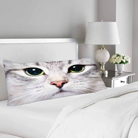 GCKG White Cat Kitten Big Green Eyes Pillow Covers Pillowcase Zipper 20x60 inches, Funny Animal Body Pillow Case Protector - image 1 de 2