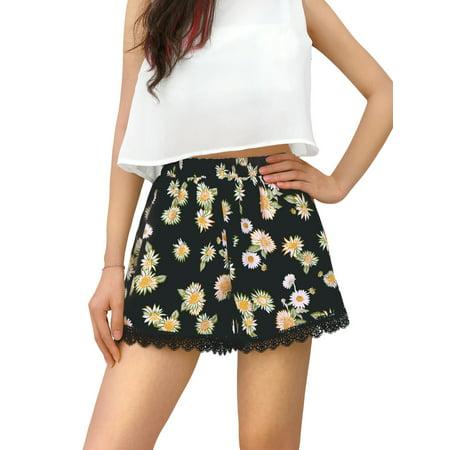 Women's Printed Lace Trim Elastic Waist Shorts (Tadashi Lace Shorts)