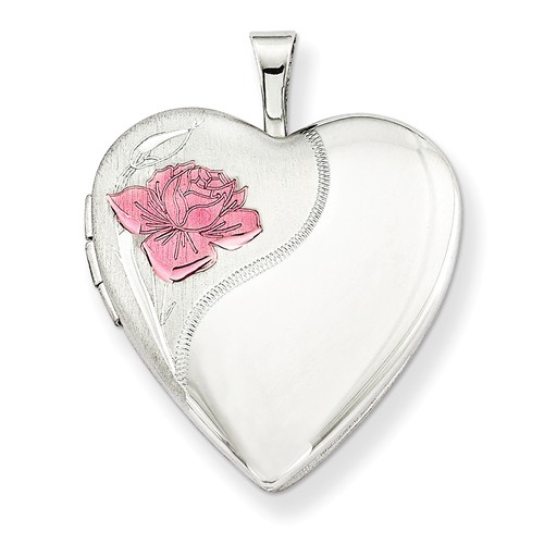 Sterling Silver 20mm Enameled Rose Heart Locket w  18in Chain by Jewelrypot