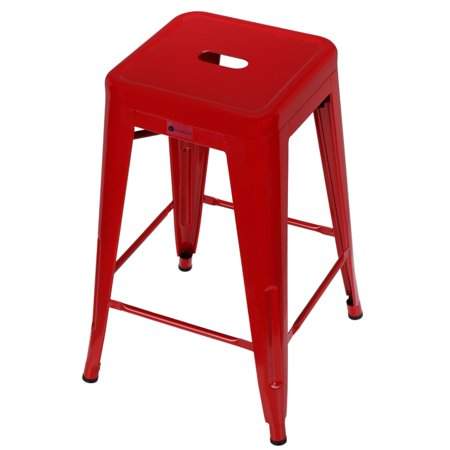 Homegear 4 Pack Stackable Metal Kitchen Stools / Chairs Red