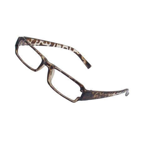 Women Leopard Printed Arms Full Rim Plain Eyeglasses Spectacles Eyewear