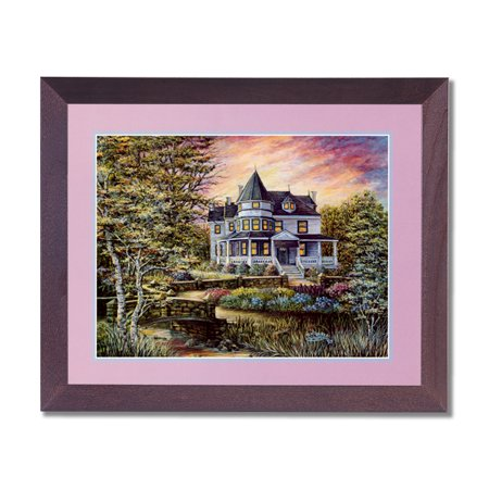 Victorian House Flowers Bridge Contemporary Wall Picture Cherry Framed Art (House Of Troy Contemporary Picture Frame)