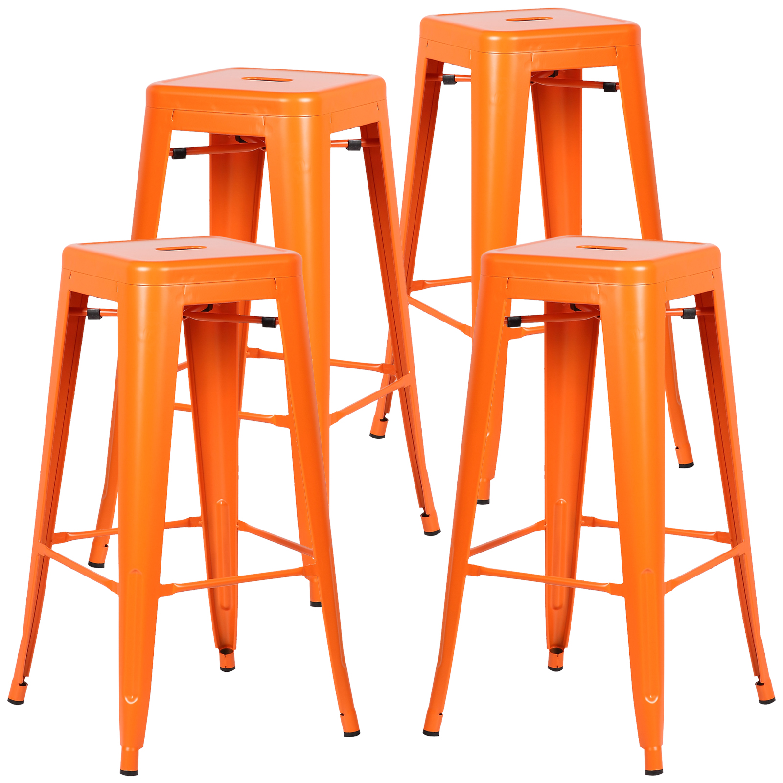 Poly and Bark Trattoria Bar Stool in Orange (Set of 4)