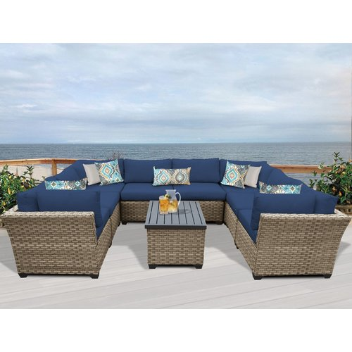 TK Classics Monterey 9 Piece Sectional Seating Group with Cushions