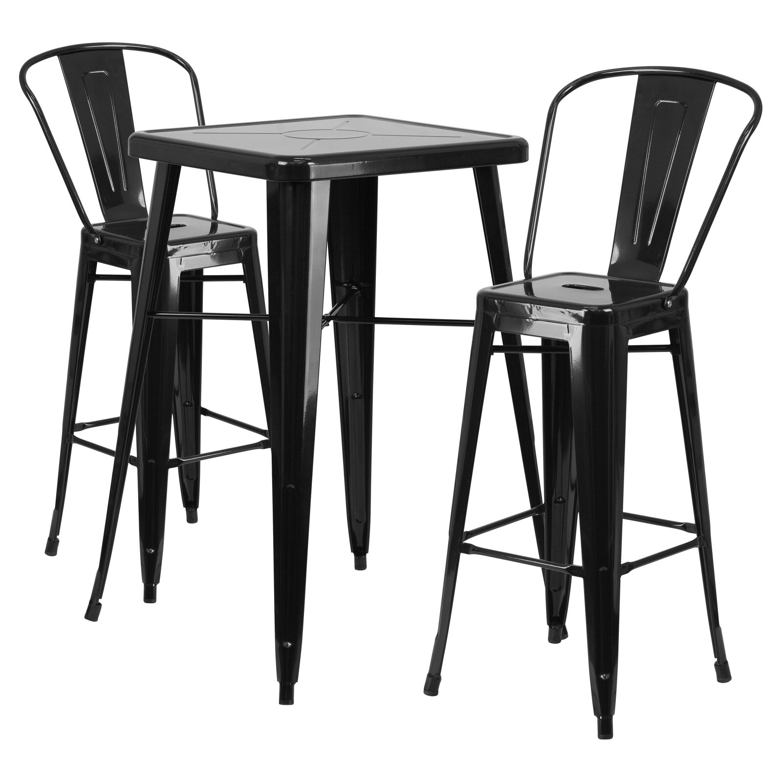 Flash Furniture 23.75u0027u0027 Square Metal Indoor-Outdoor Bar Table Set with 2 Barstools  sc 1 st  Walmart : table and barstool set - Pezcame.Com