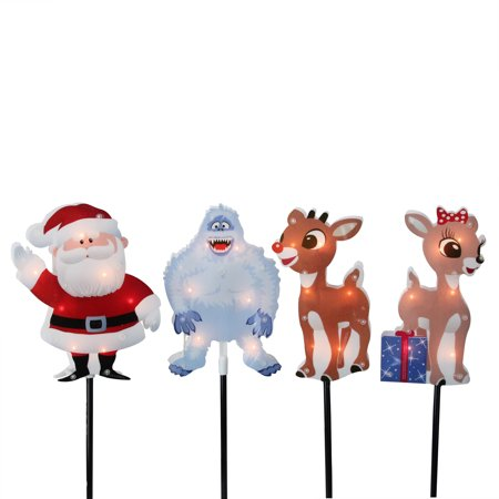 Rudolph the Red Nosed Reindeer Christmas 4ct Prelit Pathway Marker Outdoor Decoration 12