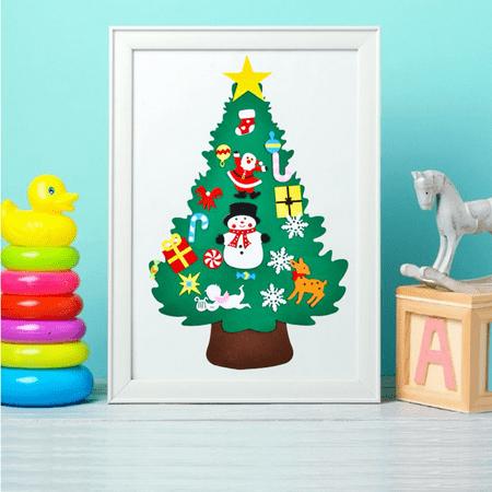 3ft DIY Felt Christmas Tree Set + 30pcs Detachable Ornaments, Xmas Gifts for Kids New Year Wall Hanging Christmas Decorations Preschool Holiday Fun ()