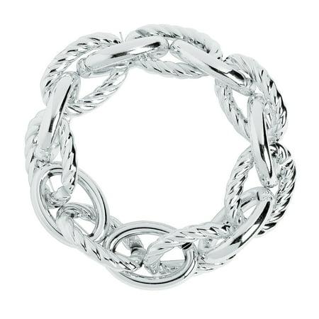Fun Express - Silver Large Link Bracelet - Craft Supplies - Adult Beading - Beading Components - 6 Pieces (6 pcs/unit) 8  circ.