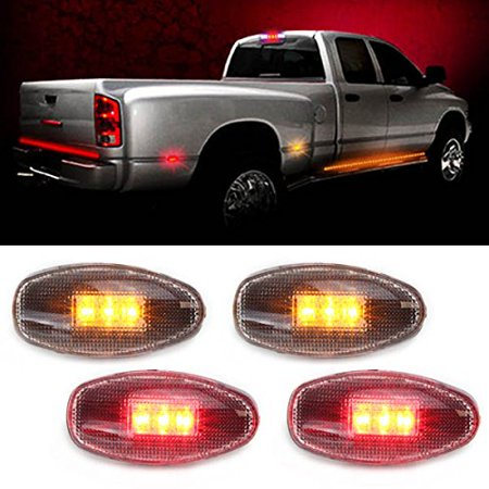 iJDMTOY (4) Clear Lens LED Fender Bed Side Marker Lights Set For GMC Sierra Dually Chevrolet Silverado 2500 3500 HD Trucks (Replace GM 16530177 16530179 15793901 15793902 16530173