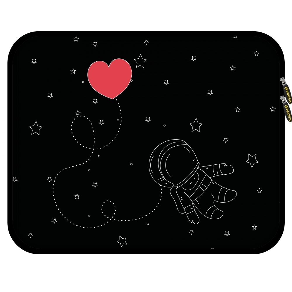 11.25 Inch High Quality Designer Neoprene Sleeve for Notebook, Chromebook, Tablet, iPad with 5 Pcs Screen Cleaning Kit and Headset Organizer - Space Love