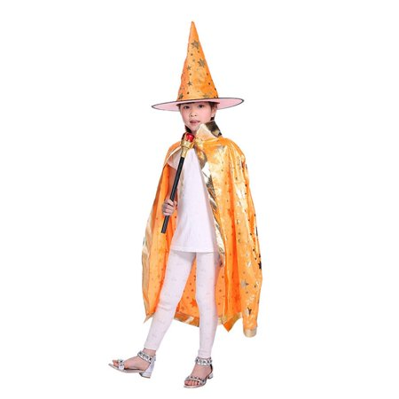 Anime Witch Dress Up (AkoaDa Boy Girl Kids Children Halloween Costumes Witch Wizard Cloak Gown Robe With Hat Cap Stars Fancy Dress Up Cosplay Chirstmas)