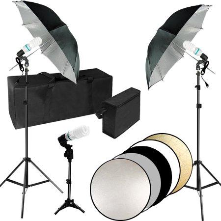 Loadstone Studio Professional Photo Video Studio Lighting Kit, Black Umbrella Reflector, CFL Bulb, 32 inch Foldable Round Reflector Disc with Carry Stroage Bag, Photography Studio, WMLS4486