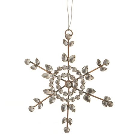 """6"""" Country Rustic Clear Jeweled Snowflake Christmas Ornament - image 1 of 1"""