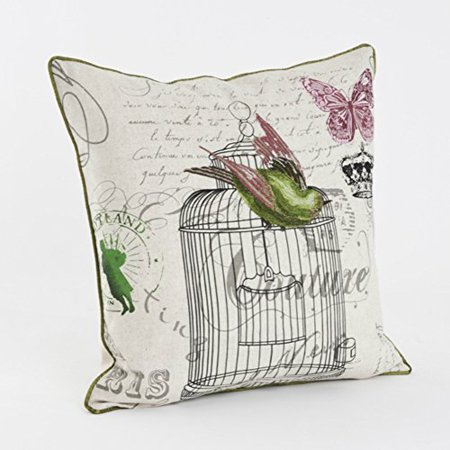 "Fennco Styles El Ave Vintage Embroidered Birdcage Decorative Throw Pillow Case, 18""x 18"", Green/natural (Natural Case Only)"