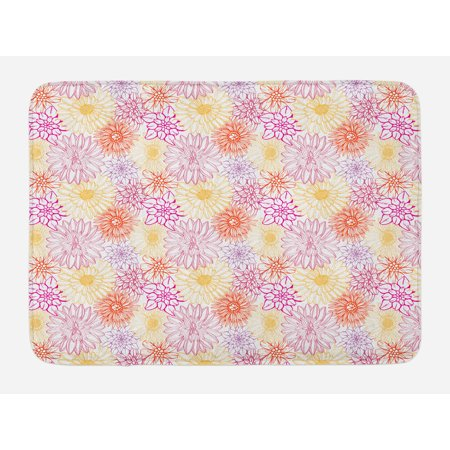 Essence Slip - Floral Bath Mat, Blossom Spa Gardening Theme Flower Petals Essence Bouquet Art, Non-Slip Plush Mat Bathroom Kitchen Laundry Room Decor, 29.5 X 17.5 Inches, Pale Yellow Dark Coral Fuchsia, Ambesonne