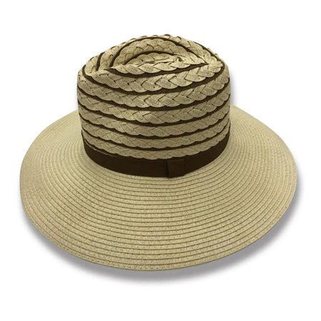 a0ea4302 Sun Styles Foldable Crushable Janel Ladies Fedora Style Sun Hat - Light  Brown - image 1 ...