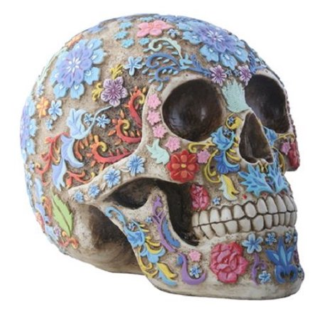 Engraved Colored Floral Human Skull Halloween Figurine Collectible New Colorful](Halloween Spells)
