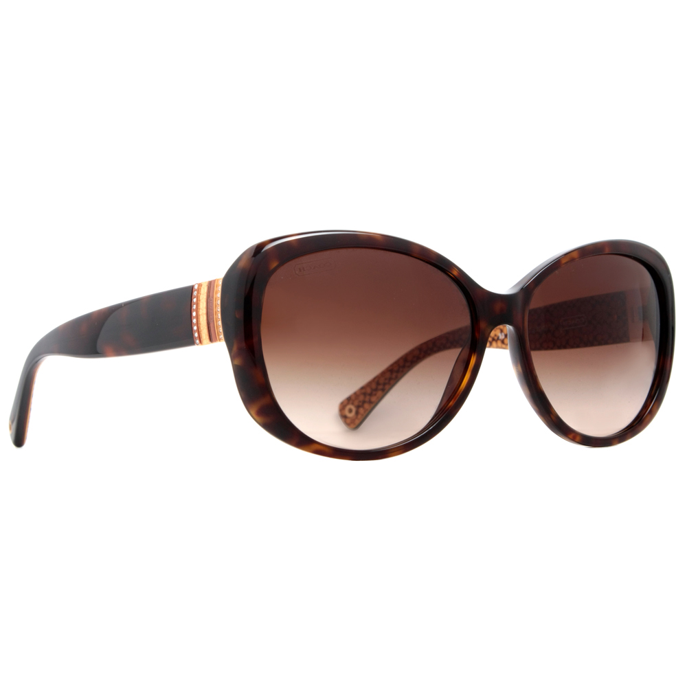 aaa957101039 Coach - Coach HC8040B L520 Keri 5033 13 Dark Havana Brown Women s Sunglasses  w  Crystals - Walmart.com