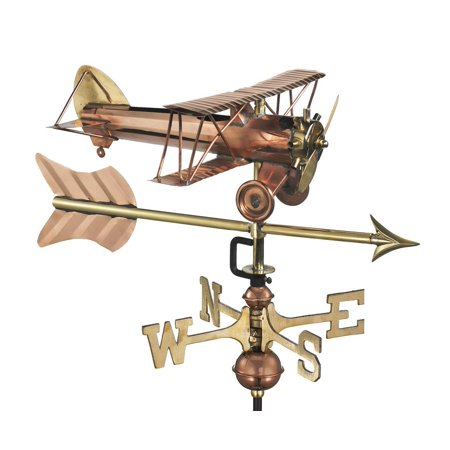 - Good Directions Biplane with Arrow Garden Weathervane, Pure Copper - 21