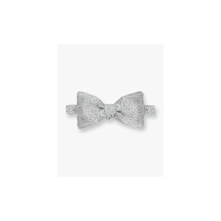 45088dac0791 Gitman - Gitman Bros Big and Tall Silk Silver Woven Paisley Pre-Tied Bow Tie  - Walmart.com
