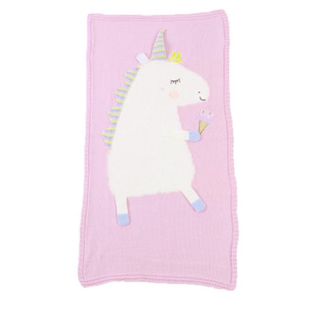 Baby Kids Lovely and Cozy Unicorn Flamingo Knitted Cotton Crib Throw Cover Wrap Blanket Child Room Decorations (Unicorn Pink)