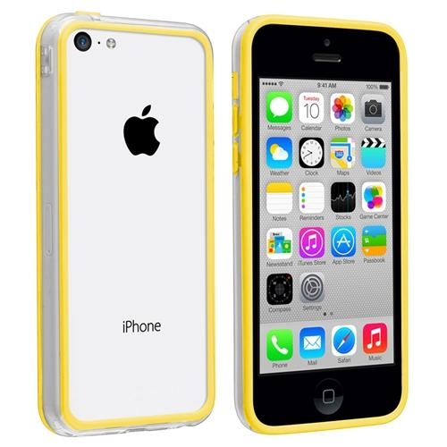 INSTEN Clear Yellow TPU Rubber Gel Bumper Case Skin For Apple iPhone 5C