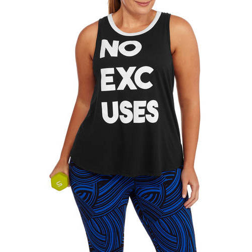 F.I.T. Women's Plus Fitspiration No Excuses Racerback Workout Tank