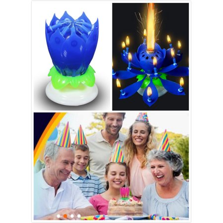 2Pcs Birthday Candles Blue Lotus Flower Candles Cake Topper Play Happy Birthday to You Music with Rotation Function
