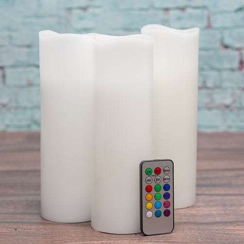 "Richland Flameless LED Pillar Candle Remote Control Wavy Top 3""x9"" Set of 3"