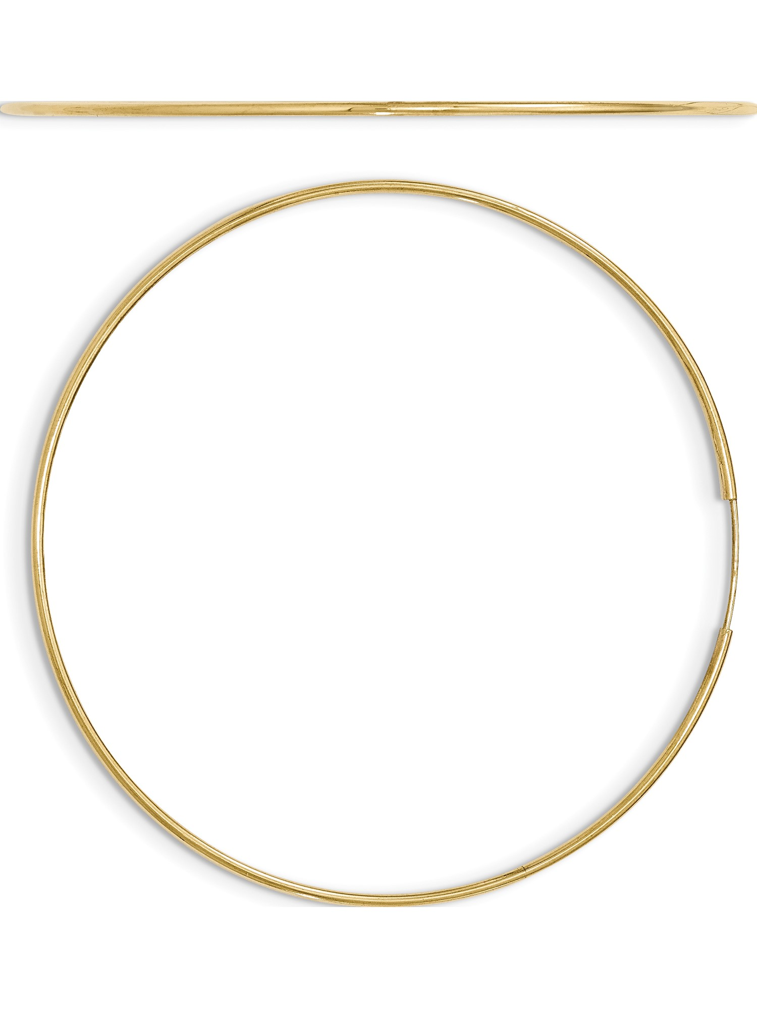 10k or Blanc 1.2 mm Endless Hoop Boucles d/'oreilles