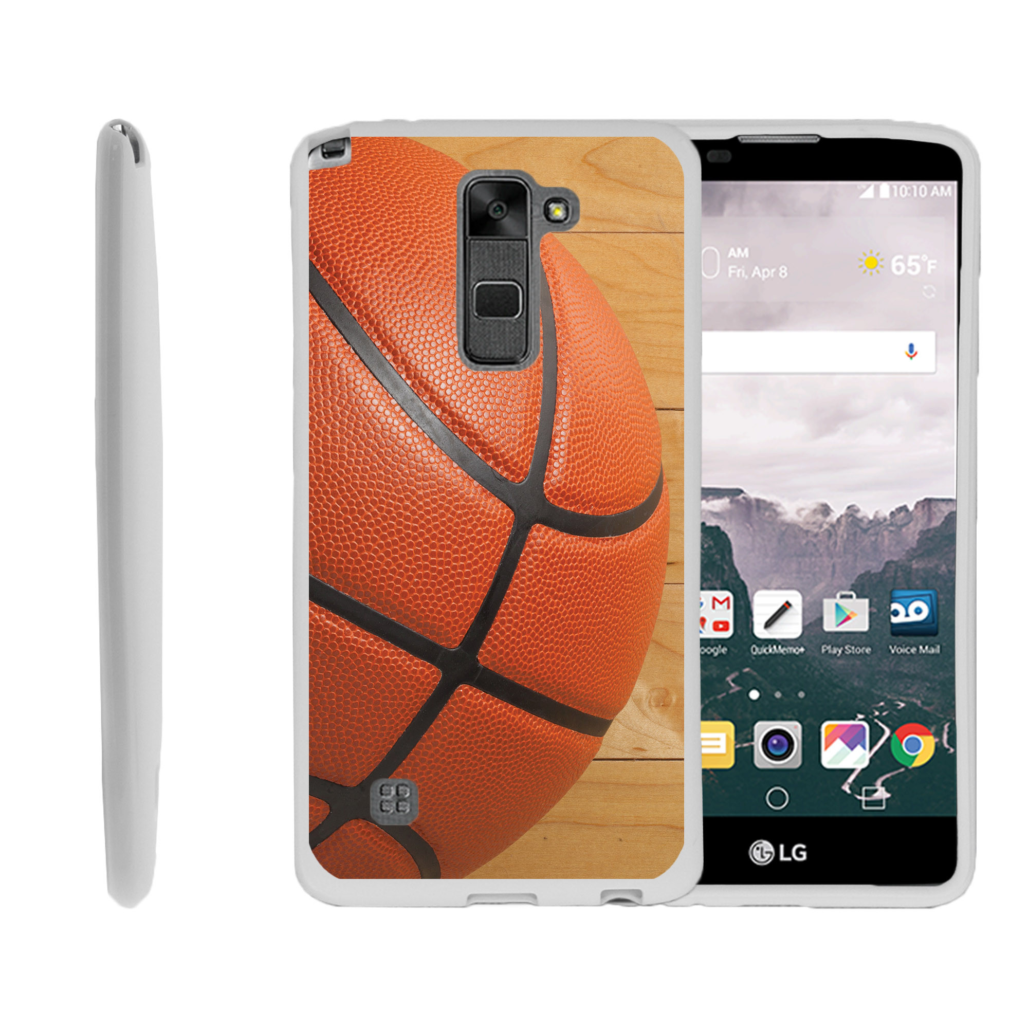 LG G Stylo 2, LG G Stylus 2 LS775, Flexible Case [FLEX FORCE] Slim Durable TPU Sleek Bumper with Unique Designs - Close up Of Basketball