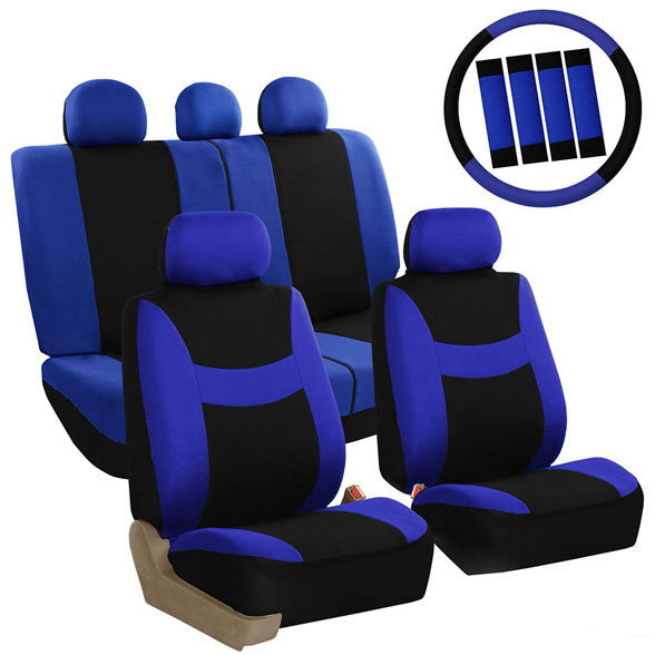 FH Group Light & Breezy Auto Accessories Full Set Seat Covers, with Steering Wheel Cover and Seat Belt Pads, Airbag Compatible and Split Bench Function, Blue and Black