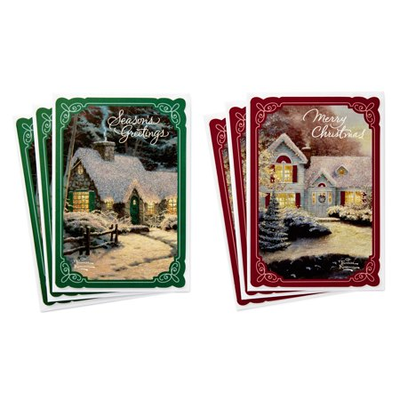 (6 Cards with Envelopes, 2 Designs) Hallmark Thomas Kinkade Card Assortment, Snowy -